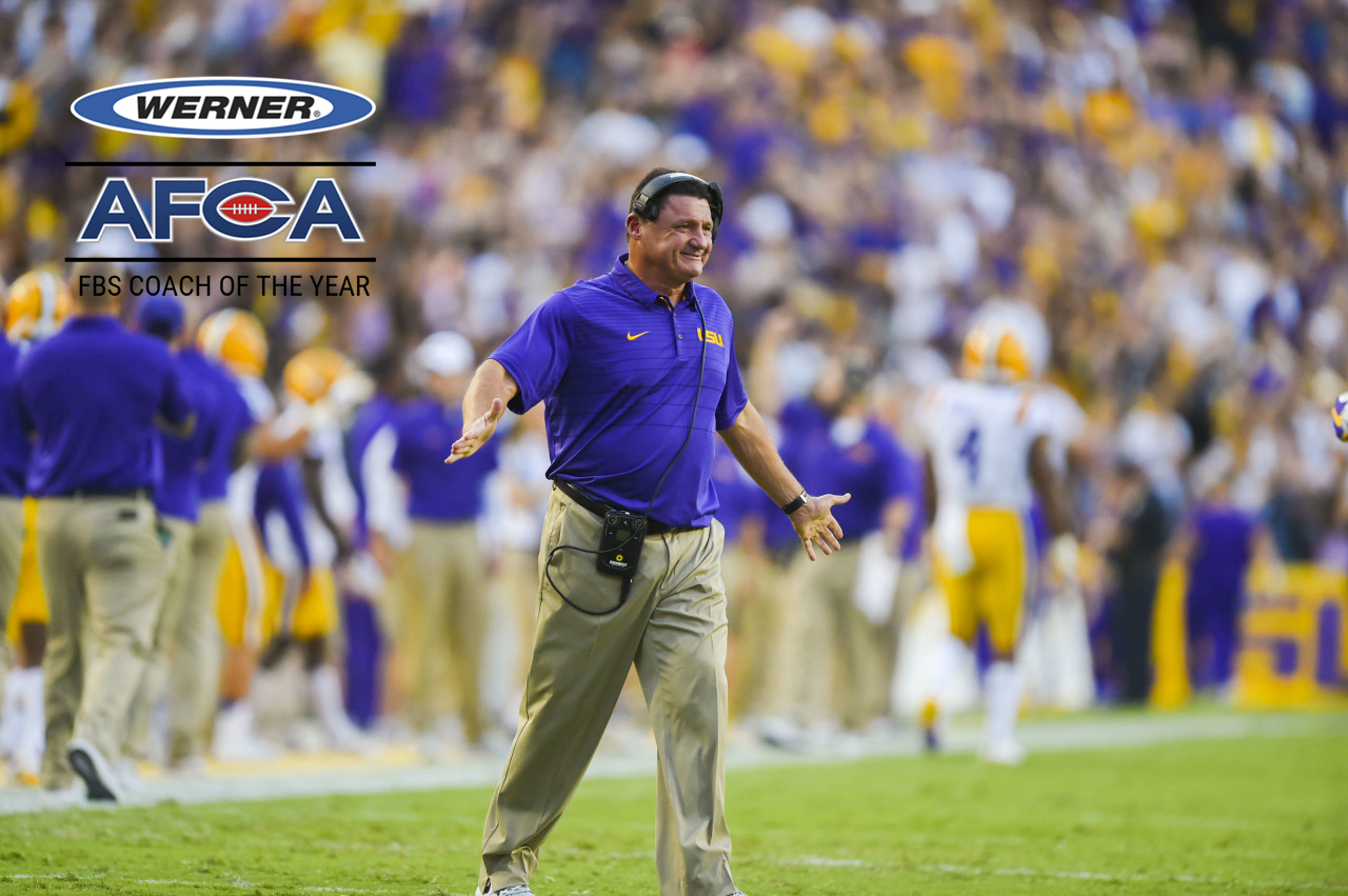 Werner Ladder AFCA FBS Regional Coach Of The Year - Ed Ogeron w/ Logo
